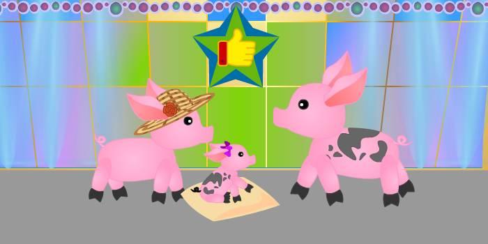 счастливая семья свиней