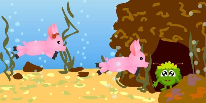 поросята в подводном царстве
